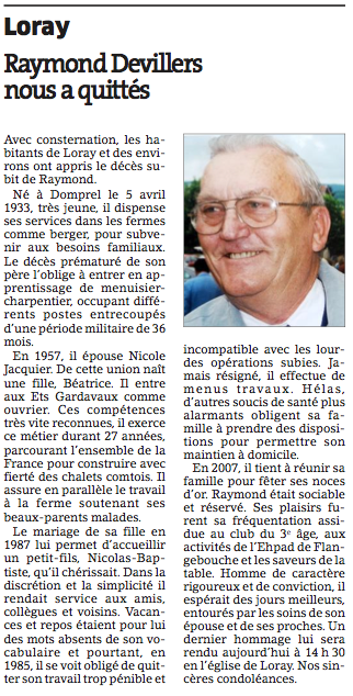 Raymond Devillers nous a quittés - Est Républicain du Mercredi 16 mai 2012